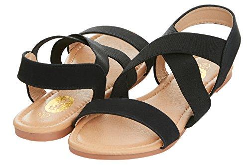 Floopi Womens Summer Criss Cross Slingback Elastic Strap Flat Sandal (9, (Buckle Slingback Sandal)