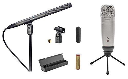 Audio Technica AT897 Shotgun Condenser Microphone+Case+Samson Mic+Tripod Stand