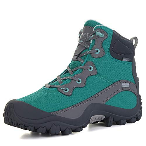 XPETI Women's Dimo Mid Waterproof Hiking Outdoor Boot Green 9.5 (Hiking Boots With Best Ankle Support)