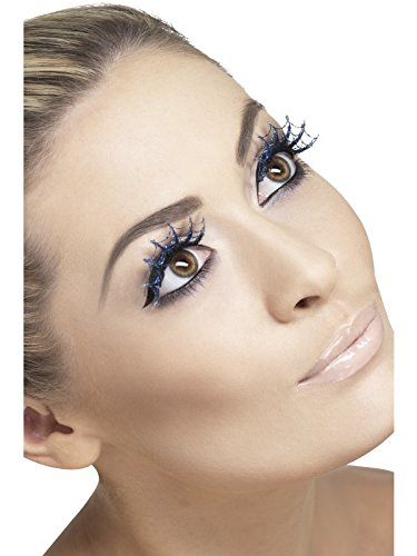 Smiffy's Fever Women's Eyelashes  Blue Spider webs with Glitter  Contains Glue  One Size  23186 -