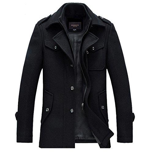 Guandoo Men's Winter Slim Fit Wool Coat Jacket Stand Collar Overcoat Mid Long, Black, Small