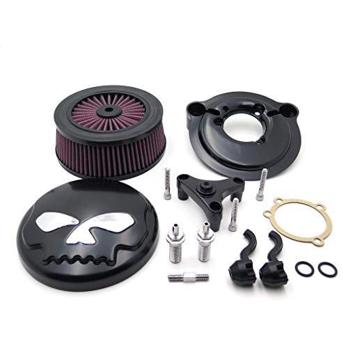 XKH- Replacement of Black Skull with Chrome Eyes Air Cleaner Intake Filter System Kit For Harley Davidson 2007-later XL Sportster 1200 Nightster 883 XL883 Low XL1200L Seventy Two Forty Eight