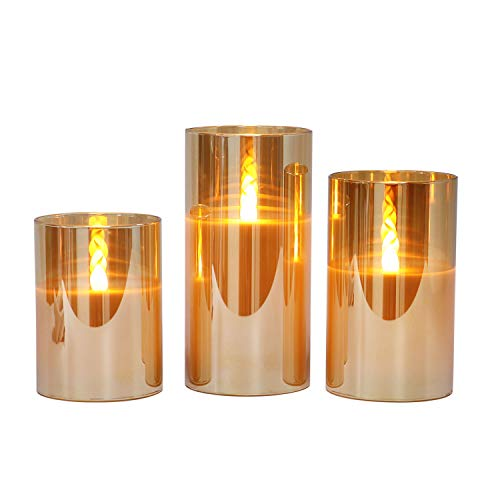 Gold Glass Battery Operated Flameless Led Candles with Timer, Warm White Flickering Light, Batteries Included - Set of 3