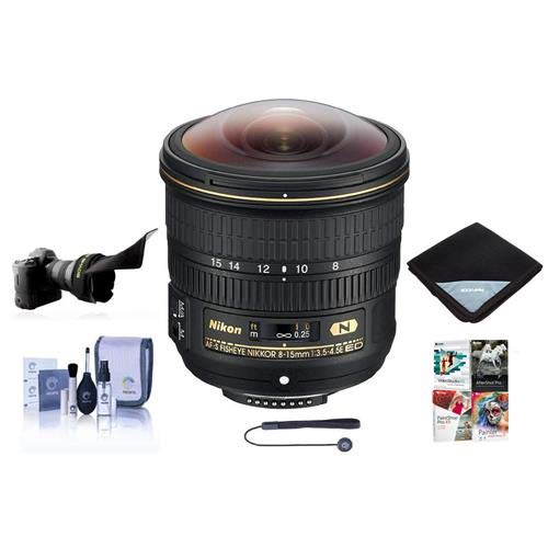 Nikon 8-15mm f/3.5-4.5E EDIF AF-S Fisheye NIKKOR Lens U.S.A. Warranty - Bundle With Flex Lens Shade, Lens Wrap, Cleaning Kit, Capleash II, Software Package