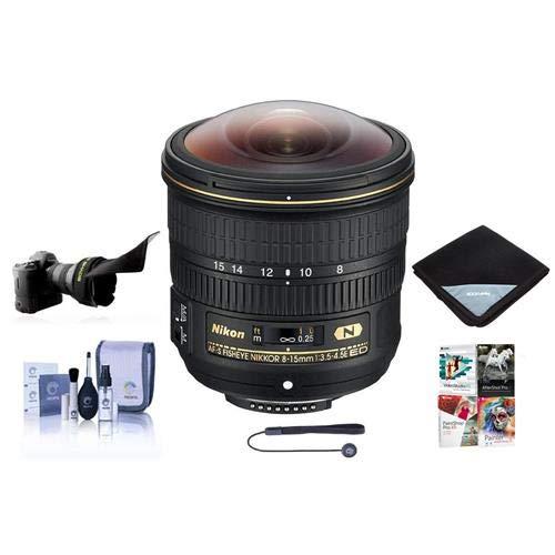 Nikon 8-15mm f/3.5-4.5E EDIF AF-S Fisheye NIKKOR Lens U.S.A. Warranty - Bundle With Flex Lens Shade, Lens Wrap, Cleaning Kit, Capleash II, Software Package