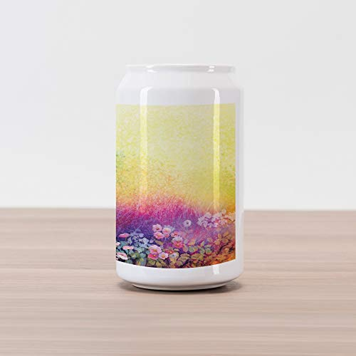Ambesonne Flower Cola Can Shape Piggy Bank, Ivy Floral Beauty in Spring Blooming Nature Soft Calm Paradise Print, Ceramic Cola Shaped Coin Box Money Bank for Cash Saving, Purple Yellow - Paradise Box Spring