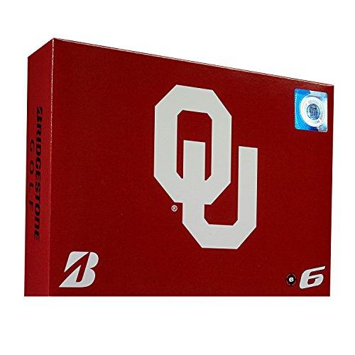 Oklahoma Sooners Golf Ball - Bridgestone 6SWXNCAOK E6 Oklahoma Sooners Golf Balls (1 Dozen), White