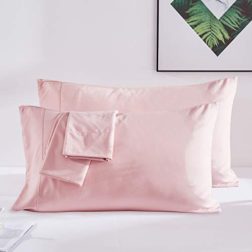 (Dreaming Wapiti Pillow Cases, 100% Washed Microfiber Pillowcases Queen for Hair and Skin -2 Pack with Envelope Closure (Pink Mocha),)