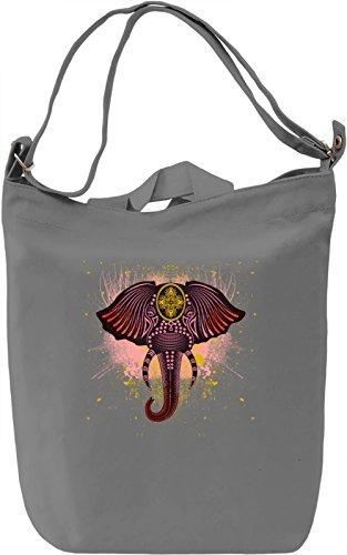 King Elephant Borsa Giornaliera Canvas Canvas Day Bag| 100% Premium Cotton Canvas| DTG Printing|
