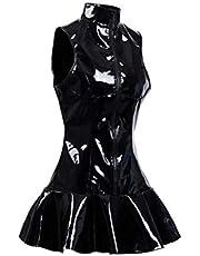 Elektrische snoezenzaag Dames Latex Clubwear Black WetLook Faux Lederen Catsuit Erotische Pool Dance Shiny PVC-jurk