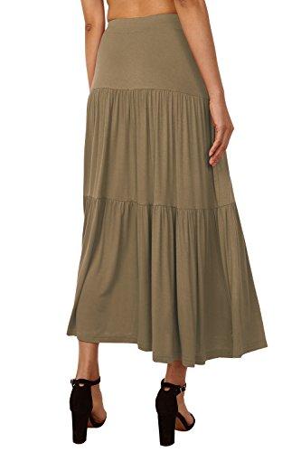 Jupe Jupes Haute Uni Poches avec Longue Jupe Brun Taille Casual Maxi DJT Clair Plisse Rtro Femme 85gYxqwf