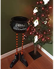 Halloween Witch Legs Cauldron Sugar Bowl,Standing High Capacity Resin Decorations,Perfect for Serving Snacks,Salad,Dessert,Party Indoor/Outdoor Porch Holiday Atmosphere
