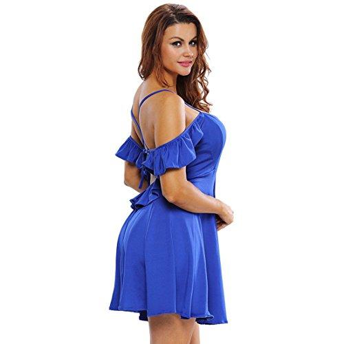 QIYUN.Z Cuello En V Manera De Las Mujeres Sin Espalda Del Vestido Del Cortocircuito De La Correa De Espagueti Del Hombro Azul