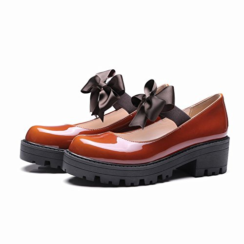 MissSaSa Damen Chunky heel Ankle-strap Plateau Schleife Pumps Braun