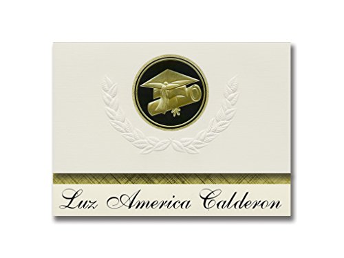 Signature Announcements Luz America Calderon (Carolina, PR) Graduation Announcements, Presidential style, Basic package of 25 Cap & Diploma Seal. Black & Gold. ()