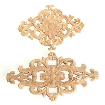 - Wood Oak Carved Hand Hardwood Ornamental Corbel Triangle Furniture Unpainted Applique - 1PCs