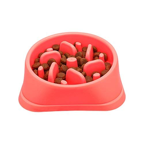 (Dog Bowls Slow Feeder Fun Interactive Anti-Choke Pet Bowl Non-Slip Drink Water Bowl Healthy Food Bowl Bloat Stop Happy Foraging Bowl (Red))