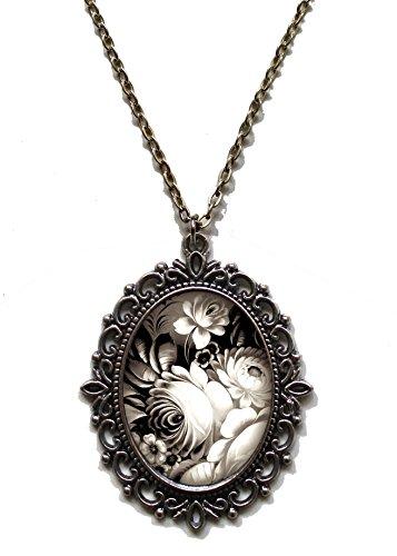 Floral Victorian Pendant - Victorian Vault Art Painting Floral Vintage Flowers Steampunk Pendant Necklace on Chain (Graphite)