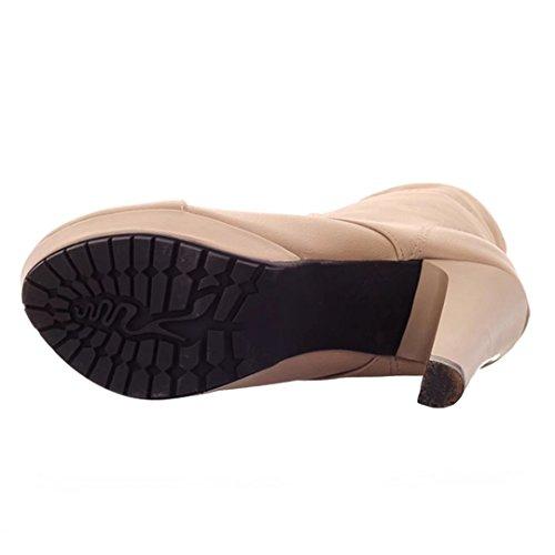 AIYOUMEI Damen Stiletto Ankle Boots High Heels stiefeletten mit Schnürung Klassischer Schnürstiefeletten Aprikose
