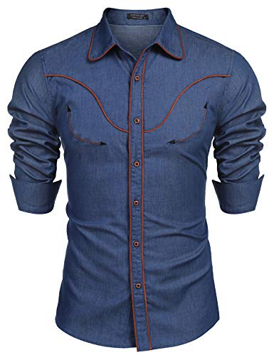 COOFANDY Men's Long Sleeve Embroidered Shirt Slim Fit Casual Button Down Shirts Denim-Blue