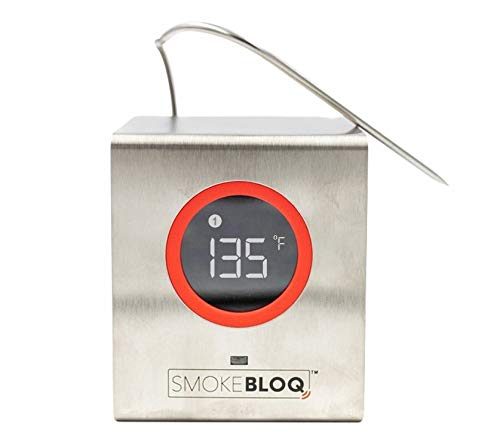 SmokeBloq Wi-Fi Meat Thermometer for iPhone/Android - Digital Meat Thermometer for Grill & Smoker Monitoring - Weatherproof  Thermometer, Access Cloud Data from Anywhere, Includes 2 Temperature Probes