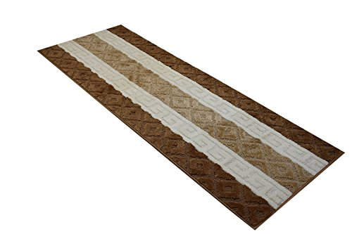 Custom Size Meander Hallway Runner Rug Non-Slip (Slip Resistant) Rubber Back, Anti-Bacterial, 26 Inch Wide x Your Choice of Length Size 7 Color Options, Pearl Collection, Beige, 26 Inch X - Brown Or Pink