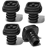 Metrokane Vacuum Stoppers, Black, Set of 4