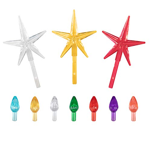 Replacement Lights bulbs for Ceramic Christmas Tree National Artcraft Ornaments for Ceramic Tree Accessories, Flame Shape light up Medium twist, 3 Stars 105 PC Included, Assorted Colors