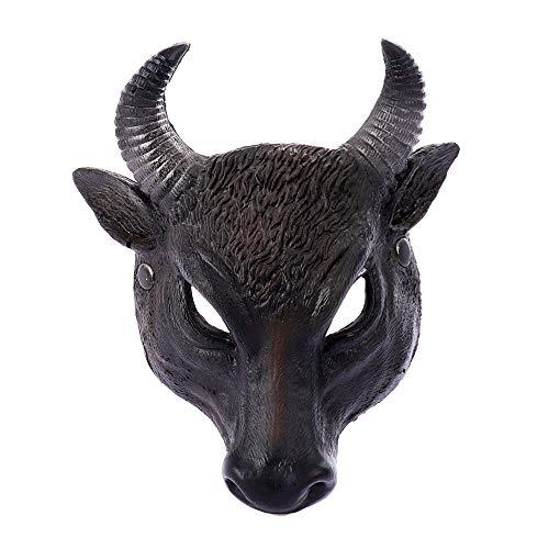 CHNA MA Halloween Easter Carnival Party Cosplay Medieval Half Face PU Foam 3D Realistic Animal Buffalo Bull Head Mask