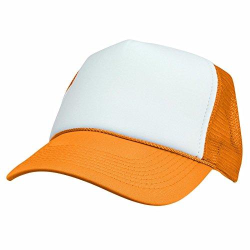 2 Packs NEON Baseball Caps Blank Trucker Hats Summer Mesh Bachelorette Capl (2 FOR Price of 1) (NEON - ORANGE/WHITE)