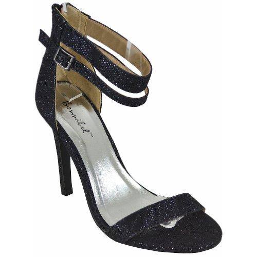 Bonnibel Lupid-2 Rits Glitter Sandalen Met Dubbele Enkelbandjes, Zwarte Glitter