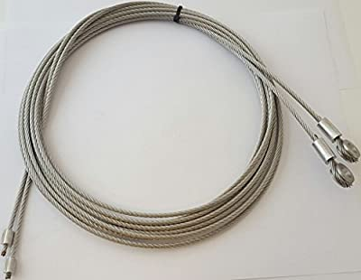 "Fleet Engineers Roll-Up Door Cables (Pair) 115"" with 5/16"" Eye"