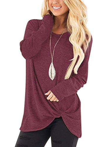 - Womens Casual Long Sleeve O Neck Knot Front Twist T-Shirt Top Blouse Red S