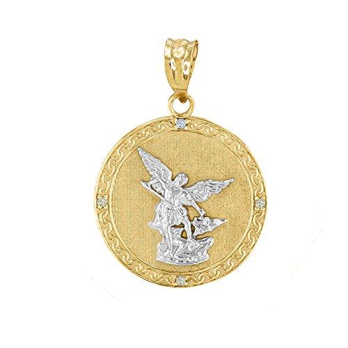 Fine 14k Two-Tone Gold Saint Michael The Archangel Diamond Medal Pendant (1