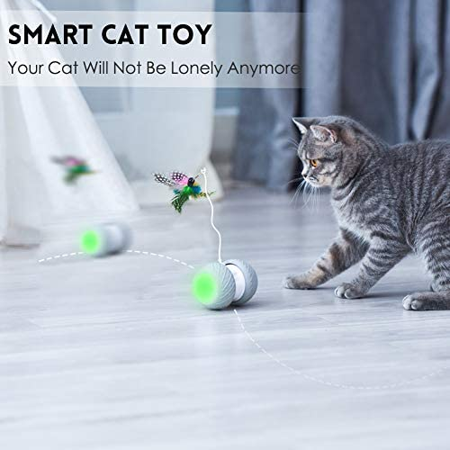 MalsiPree Robotic Interactive Cat Toy, Automatic Feather/Ball Teaser Toys for Kitten/Cats, USB Rechargeable Electronic Kitty Toy, Large Capacity Battery, All Floors/Carpet Available, 4 Bonus Feathers 3