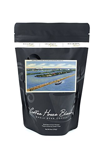 Miami, Florida - Goodyear Blimp over Biscayne Bay Islands (8oz Whole Bean Small Batch Artisan Coffee - Bold & Strong Medium Dark Roast w/ Artwork) - Biscayne Wall Lantern