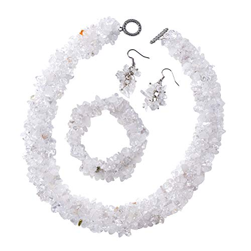 Shop LC Delivering Joy White Crystal Quartz Chips Bracelet Earrings Necklace Set Stainless Steel Jewelry for Women Size 6.5