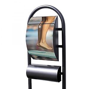 banjado - Design Stand Briefkasten mit Zeitungsrolle Metall schwarz...