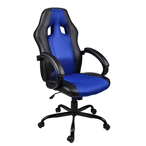 ELECWISH PU Leather Mesh Gaming Chair Racing Style High-Back Swivel Computer Office Chair (Blue)