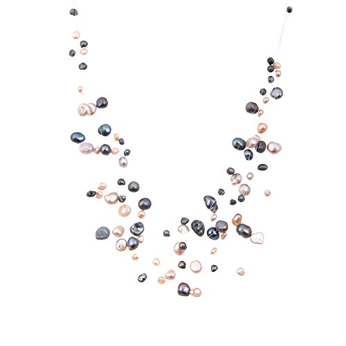 LUREME Multicolor Irregular Freshwater Pearl Cream and Black Multilayer Strand Illusion Necklace for Women 100555