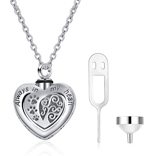 - POPLYKE Memorial Urn Necklace for Dog Cat Pets Ashes,Engraved Always in My Heart Sterling Silver Dog Paw Pendant Necklace for Women Girls Unisex