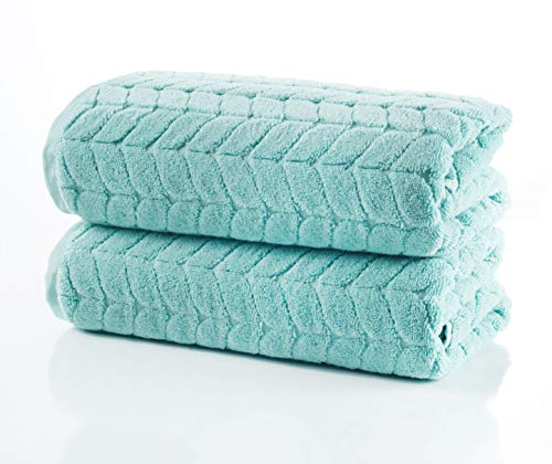 Bagno Milano Jacquard-Woven Towels - Ultra-Absorbent & Fast-Drying Spa Towels - Non-GMO Turkish Cotton Towels - Durable & Plush Luxury Towels - Eco-Friendly Towels - Soft Spa Towel Bundle - Mint 2 Pcs