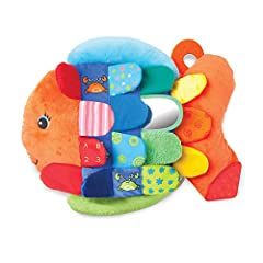 This cuddly fish friend will swim right into kids hearts! With bright colors, bold facial features, and washable fabrics that include a variety of patterns and hidden pictures, this crinkling, squeaking, multi-textured soft toy from Melissa &...