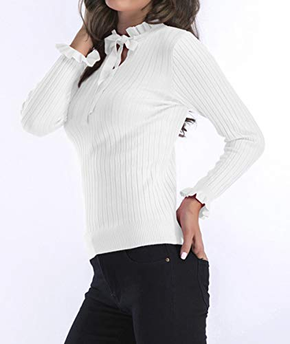 et Tops Blanc Sweat Blouse Pullover Mode Femmes Jumper Pulls Tricots Manches Slim Longues Sweater Hauts Automne Shirts Blouses Couleur Casual Unie Printemps Chandail AxqUd4wA