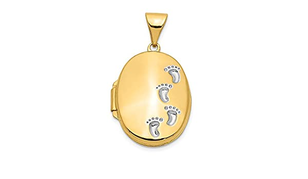 Mia Diamonds 14k Solid Yellow Gold and Rhodium-Plating Plated Oval Pendant