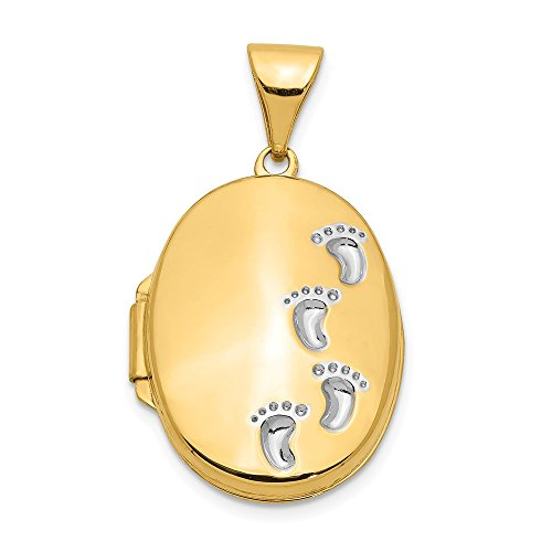 14k Yellow Gold Footprints Photo Pendant Charm Locket Chain Necklace That Holds Pictures Oval Fine Jewelry Gifts For Women For ()