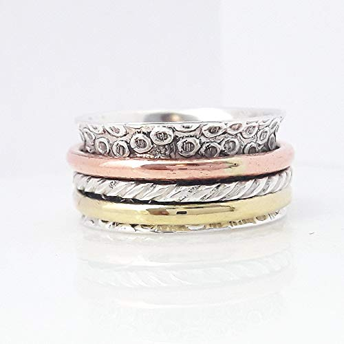 - Tricolor Ring, Designer Rose Gold Ring, 925 Sterling Silver Spinner Ring, Meditation Ring, Worry Ring, Handmade Hammered Jewelry, Boho Chunky Ring, Textured Ring