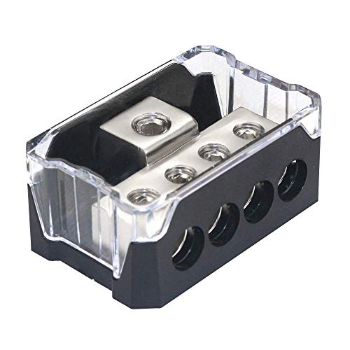 RKURCK 4 Way Power Distribution Block, 0/2/4 AWG Gauge in, 4/8/10 Gauge Out, Car Audio Stereo Amp Distribution Connecting Block for Audio Splitter (1 in 4 -