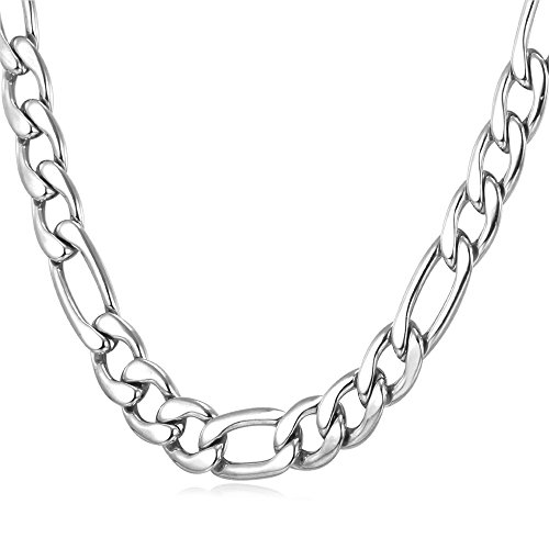 U7 9mm Stainless Steel Chain Men Father's Day Gift Jewelry Italian Style Figaro Chain Necklace (22