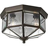 "Progress Lighting P5788-20 Three-Light Beveled Glass 9-3/4"" Close-to-Ceiling, 9-Inch Diameter x 7-Inch Height, Antique Bronze"